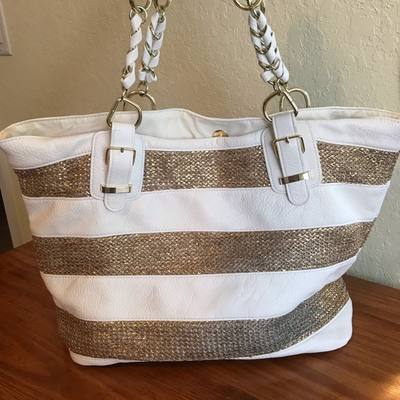 Icing Handbags - Icing Tote Bag- White and Gold